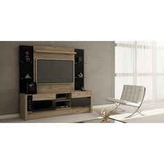 Morning Side 2-Shelf Entertainment Center in Nature and Black/ Pro-Touch/Metallic Nude, Nature And Black/Pro Touch