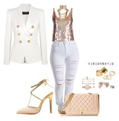 """""""Untitled #1202"""" by visionsbyjo on Polyvore featuring STELLA McCARTNEY, Balmain, Love Moschino, Anne Klein, Rosantica, GUESS and Pieces"""
