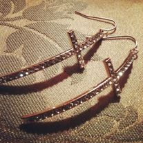 Rose Gold Side Crosses with clear crystals as earrings.  A best seller!