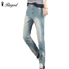 16.80$  Buy now - http://alimj4.shopchina.info/go.php?t=32766612176 - Boyfriend Jeans For Women 2017 Hot Sale Vintage Loose Ripped Hole Denim Harem Pants Trousers Woman Jeans Plus Size   #SHOPPING