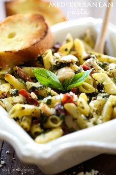 Mediterranean Chicken Pasta... This pasta dish tastes light and is packed with delicious flavors and ingredients! It will be a recipe your family will LOVE! Mediterranean Recipes, Mediterranean Chicken, Feta Pasta, Pasta Salad, Fettuccine Alfredo, Pasta Recipes, Salad Recipes, Chicken Recipes, Cooking Recipes