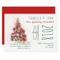 Elegant Christmas Wedding Invitation Contemporary - winter wedding diy marriage customize personalize couple idea individuel