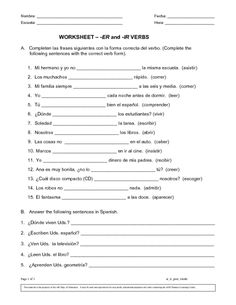 Printables Spanish Practice Worksheets spanish teaching and present tense verbs on pinterest verb conjugation practice worksheets google search