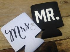 Mr. and Mrs. Koozie Set - Bride Groom Gift, Wedding Gift, Engagement Gift, Bridal Shower Gift, Wedding koozies, can coolers by DeighanDesign on Etsy https://www.etsy.com/listing/239823291/mr-and-mrs-koozie-set-bride-groom-gift