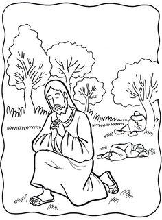 jesus prays coloringpainting sheet