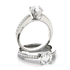 Luxury Forever One colorless D-F moissanite center & genuine diamond sides. Diamond Solitaire Rings, Dream Ring, Moissanite, Design Your Own, Beautiful Rings, Custom Design, Wedding Rings, Jewellery, Engagement Rings
