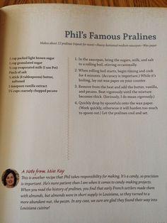 Phil's famous pralines