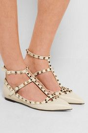 Heel measures approximately inches Ivory textured-leather Buckle-fastening ankle strap Made in Italy Leather Buckle, Leather Flats, Mcq Alexander Mcqueen, Valentino Rockstud, Pointed Toe Flats, Frame Denim, Smooth Leather, Gladiator Sandals, Designer Shoes