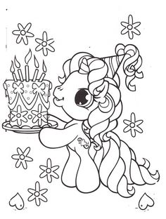 Little Pony Brought A Birthday Cake Coloring Pages - My Little Pony car coloring…