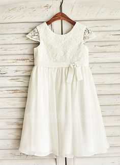 [US$ 58.19] A-Line/Princess Knee-length Flower Girl Dress - Chiffon Short Sleeves Scoop Neck With Bow(s) (010091213)
