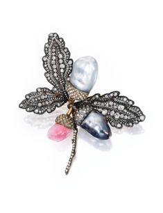 Silver-topped-Gold, Conch Pearl, Cultured Pearl and Diamond Brooch - Sotheby's