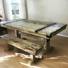 Captivating Rustic Distressed Dining Table And Bench With Steel Hardware/Hardwood Top
