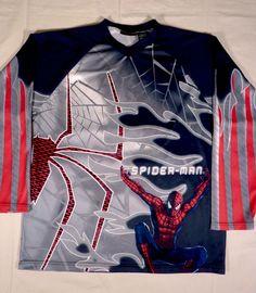 Marvel Comics Spiderman The Movie Long Sleeve BMX Biker Style Jersey Shirt Men L