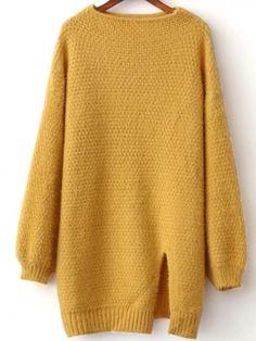 Yellow Front Slit Lantern Sleeve Sweater