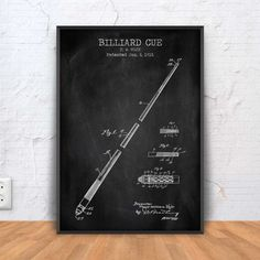 BILLIARD CUE patent print billiard poster billiard by PrintPoint