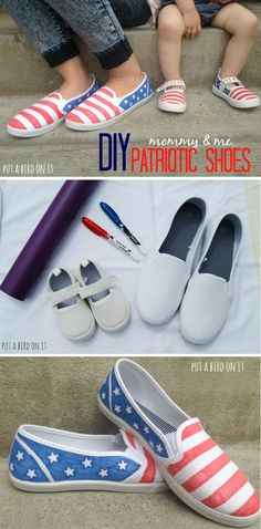 DIY american flag patriotic shoes for 4th of July! These couldn't be easier or more adorable! Definitely gonna throw together a couple pairs for my little ones! Fourth Of July, 4th Of July Party, Holiday Crafts, July Crafts, Summer Crafts, Summer Diy, White Converse, Converse Shoes, Cheap Converse