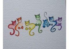 drawing colorful cats Crochet The post Doodling cats . drawing colorful cats Crochet # appeared first on Katzen. Cat Colors, Watercolor Cards, Watercolour, Watercolor Tattoo, Doodle Art, Cat Doodle, Tangle Doodle, Rock Art, Cat Art