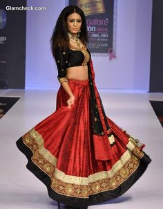Black & Red Lehenga by Sagar Tenali - Bangalore Fashion Week Winter-Festive 2013