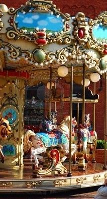 Vintage Merry-go-round had 4 rows of horses/jumpers that rose up and down as the carousel turned. The platform is 50 feet across and the upper rim is 54 feet. It weigh's 30 tons and is supported by a center pole Pinned from 123rf.com