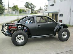 I thought of this, glad to see it done!  it is a old beetle with a new beetle body and made into a baja bug