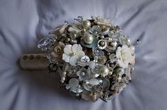 silver & white bouquet ~ vintage  buttons, beads and swarovski crystals
