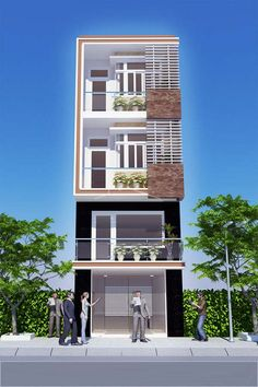 45 mẫu nhà phố hiện đại đẹp - Houseland.com.vn Flat House Design, House Front Design, Front Elevation Designs, House Elevation, Home Building Design, Narrow House, Dream House Exterior, Facade House, Manish