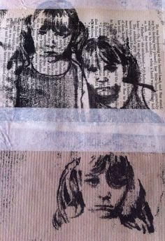 Monoprint portraits on brownpaper and book pages Monoprint Artists, Printmaking, Fred Perry, Mono Print, Expressive Art, A Level Art, High Art, Tampons, Art Sketchbook