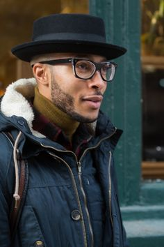Street Style: Goorin Bros. hat, Cutler and Gross glasses, and layers for fall/winter