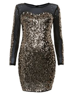Chi Chi Gold Long Sleeve Sequin Bodycon Dress