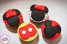 Sweet Cucas and Cupcakes by Rosângela Rolim: Mini Cupcakes Mickey e Minnie
