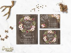 REPIN NOW for later! Rustic Wedding Invitation Printable Floral Wedding Invitation Suite Spring Wedding Invite Blush Pink Boho Chic Wedding Invite Digital File by DigartDesigns on Etsy