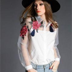 High quality Womens Cute Embroidered Tops 2015 Spring Fashion Blusas Femininas High Street White Sheer  Long Sleeve Blouse 606B