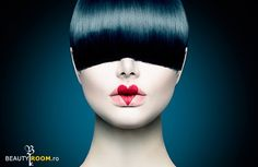 size: Photographic Print: High Fashion Model Girl Portrait with Trendy Fringe Hair Style and Red Heart Lips Makeup. Long Blac by Subbotina Anna : Fashion Model Drawing, Fashion Sketches, Fringe Hairstyles, Bob Hairstyles, Avant Garde Hair, Mode Glamour, High Fashion Models, Hair Images, Look At You