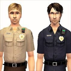 Two new police uniforms for men and women.  A dark blue one, and a tan shirt with brown pants.