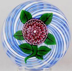 GORGEOUS John DEACONS Glass POM POM FLOWER Blue White SWIRL Ground PAPERWEIGHT | Pottery & Glass, Glass, Art Glass | eBay!