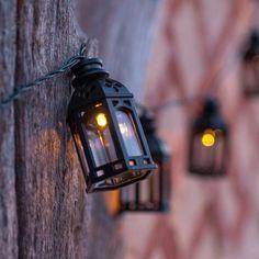 16 Moroccan Lantern Solar Fairy Lights | Lights4fun.co.uk Lantern With Fairy Lights, Solar Fairy Lights, String Lights, Wall Lights, Be Light, Moroccan Lanterns, Solar Battery, Outdoor Living Areas, White Lead