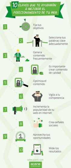 """[Infografia] """"10 claves que te ayudaran a mejorar el posicionamiento de tu web"""" Enero-2013 - Acens.com #PosicionamientoWeb"""