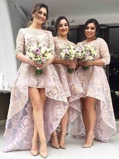A-line Bateau Asymmetrical 3/4-Length Tulle Bridesmaid Dresses # VB035