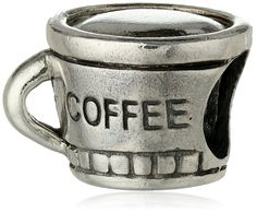 Cup of Coffee Cup of Joe Silver Charm .925 Sterling Silver Bead Pandora Chamilia Biagi & European Bracelets Compatible