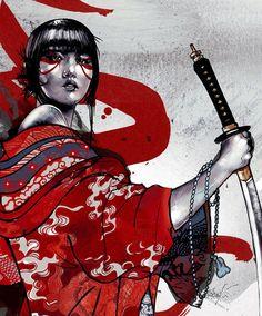 Samurai geisha artwork illustration