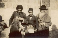 The Jew on left belongs to Ashkenazi group (from Germany,  Russia, Poland etc.) and speaks Yiddish; the other two are Sephardic Jews (Spanish and Portuguese) and speak Arabic and a Spanish patois [Ladino]. (circa 1940)