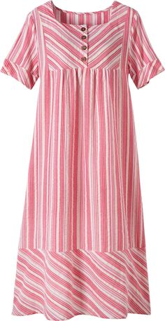 Square Neck Cotton Nightgown | Seersucker Weave Gown