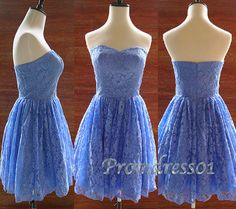 2015 cute lanvender blue vintage lace sweetheart strapless short prom dress for teens, homecoming dress, bridesmaid dress, retro dress #promdress