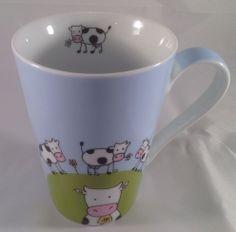 Konitz Coffee Cow Mug Black  White Cows Around Mug USED