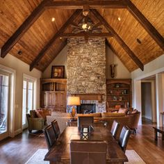Vaulted Ceilings with dark beams over lighter wood ceilings