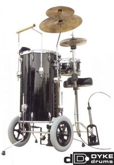 "The Dyke drums ""mobile"" cocktail set doubles as a walker for those nursing home gigs, but you need to call an aide to help you drag the throne and the remote hi hat pedal to the dining room."