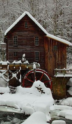 Mountain Vagabond ~ Glade Creek Grist Mill on a winter's day. Babcock State Park, West Virginia