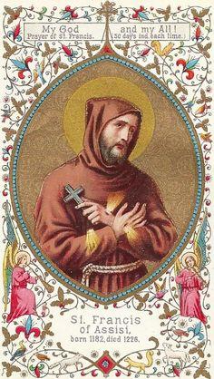 Francis of Assisi Catholic Art, Catholic Saints, Roman Catholic, Saint Francis Prayer, St Francis, Religious Text, Religious Images, Sainte Claire, St Clare's