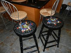 Beer cap bar stools! This is so neat!