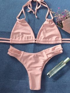 Shop trendy fashion swimwear online, you can get sexy bikinis, swimsuits & bathing suits for women on ZAFUL. Swimwear Fashion, Bikini Swimwear, Bikini Set, Pink Beige, 2 Piece Swimsuits, Women Swimsuits, Zaful Bikinis, One Shoulder Bikini, Bikini Outfits